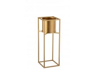 Zlatý kovový květináč na zlaté noze - Ø 19*53 cm