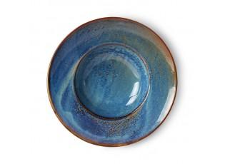 Rustikálně modrý keramický talíř na těstoviny Pasta Chef - Ø 28,5*6cm
