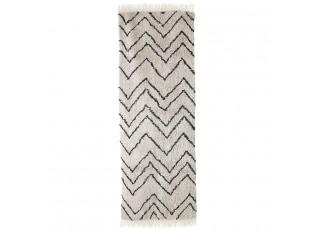 Béžový bavlněný koberec s cikcak vzorem ZigZag - 75*220cm