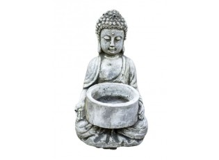 Malá betonová dekorace sedící Buddha na čajovou svíčku - 7,5*7,5*10cm