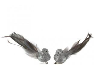 2ks šedá třpytivá ozdoba ptáček s peříčky  - 15*7*5cm