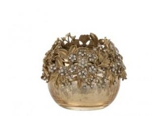 Zlatý svicen na čajovou svíčku se zdobením a kamínky Luxy - Ø  8*8cm