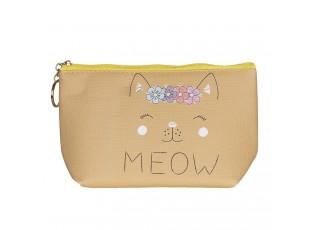 Hnědo žlutá toaletní taška Meow - 21*12 cm