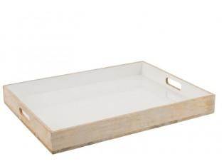 Dřevěný podnos s bílou smaltovanou vrstvou Enamell white - 66*50,5*8 cm