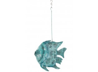 Modrý závěsný svícen veliká ryba Fish Sphere -  78*17*129 (64) cm