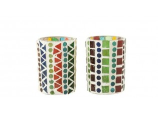 2ks barevný skleněný svícen na čajovou svíčku Mosaic - Ø 6 *8,5 cm