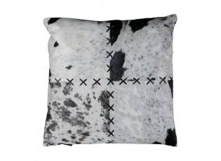 Kožený polštář černá/bílá z hovězí kůže zdobený stehem - 45*45*15cm