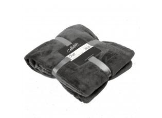 Šedý plyšový pléd Olaf dark grey - 150*200 cm