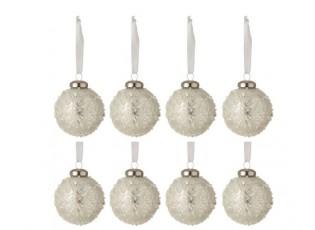 8ks vánoční stříbrná skleněná ozdoba s bílými korálky - Ø 6 cm