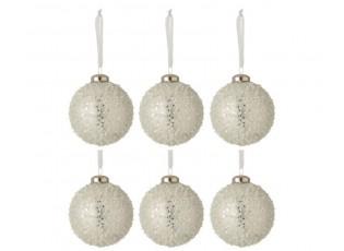 6ks vánoční stříbrná skleněná ozdoba s bílými korálky - Ø 8 cm
