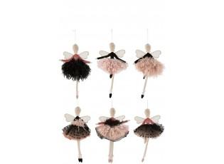 6ks látkových závěsných růžovo-černých andělů - 16*4*29 cm