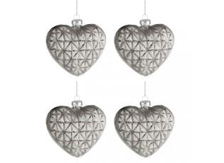 4ks vánoční béžovo-šedá skleněná ozdoba srdce - 9 cm
