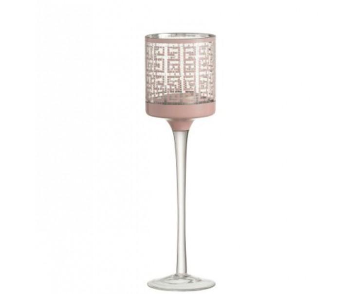 Růžový skleněný svícen na nožičce s ornamenty - Ø 7*25cm