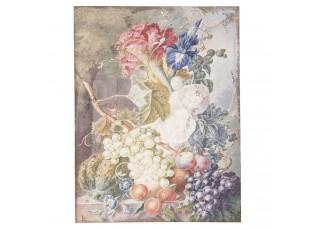 Vintage obraz s motivem ovoce a květin - 55*3*73 cm