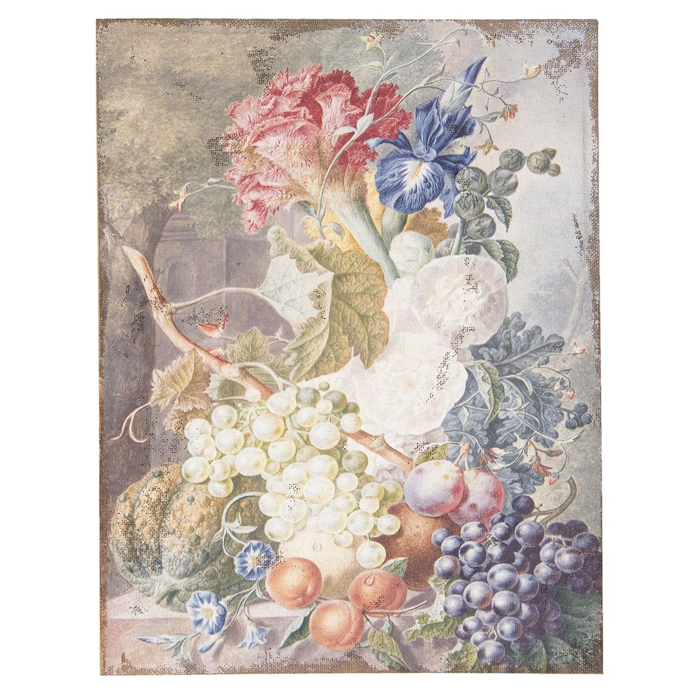 Clayre & Eef Vintage obraz s motivem ovoce a květin - 55*3*73 cm