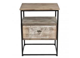 Dřevěný noční stolek se šuplíkem a kovovou konstrukcí - 47*36*62 cm