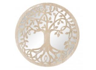 Nástěnné kulaté zrcadlo s vyřezávaným stromem - Ø 30*1 cm