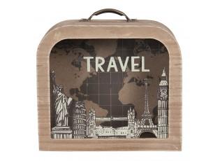 Dřevěná pokladnička ve tvaru kufříku Travel - 18*7*16 cm