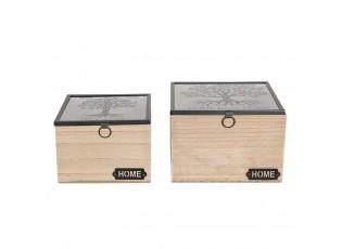Světle hnědé dřevěné krabičky s průhledným víkem a stromem (2 ks) - 18*18*12 / 15*15*11 cm