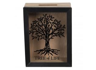 Dřevěná pokladnička Tree of Live - 13*7*17 cm