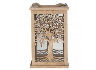 Dřevěná závěsná lucerna se stromem - 16*16*25 cm