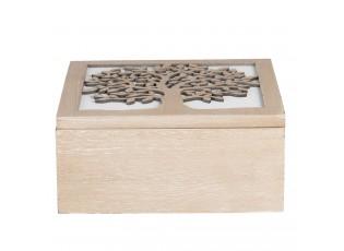 Dřevěný box s dekorací stromu - 20*20*9 cm