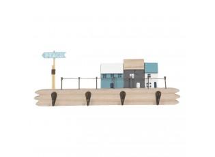 Dřevěný věšák s dekorací domků Beach - 35*5*14 cm