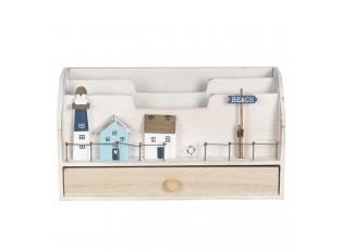 Dřevěný poštovní box s dekoracemi domků a majáku - 28*11*15 cm