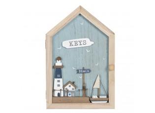 Dřevěná skříňka na klíče Beach keys - 18*6*28 cm