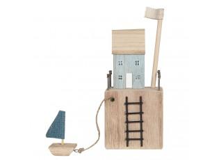 Dřevěná dekorace domku s loďkou - 11*7*11/27 cm