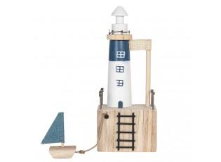 Dřevěná dekorace majáku s loďkou - 11*7*7/29 cm