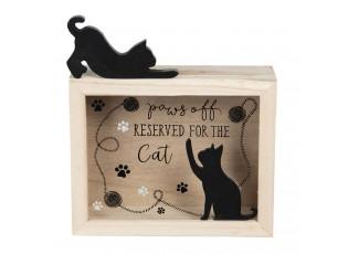 Dřevěná pokladnička s kočičkou Cat - 21*7*22 cm