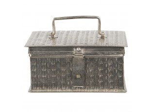 Stříbrný kovový úložný box Marcelon - 21*14*11 cm
