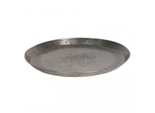 Kovový podnos s ornamenty ve stříbrné barvě - Ø 27*3 cm