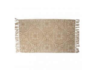 Béžový bavlněný koberec s ornamenty a třásněmi - 70*120 cm