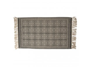 Béžovo-černý koberec s ornamenty a třásněmi - 70*120 cm