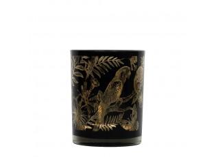 Černý svícen na čajovou svíčku s papoušk