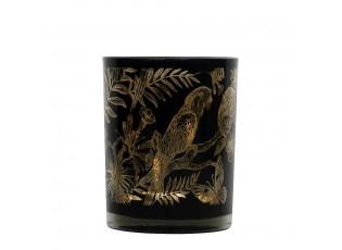 Černý svícen na čajovou svíčku s papoušky L - Ø 10*12cm