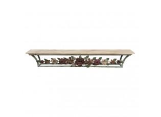 Nástěnná vintage polička s kovovými květy - 78*14*12 cm