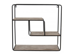 Nástěnný kovový černý regál s dřevěnými poličkami - 49*16*49 cm