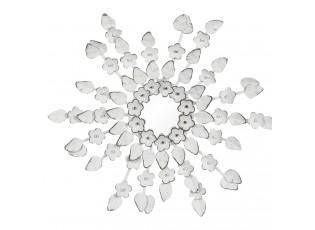Bílé zrcadlo s dekoracemi květin Poures – Ø 27*2 cm