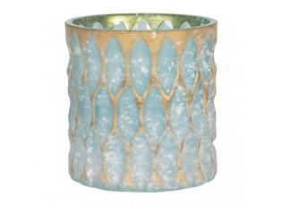 Tyrkysový skleněný svícen se zlatou patinou - Ø 10*10 cm