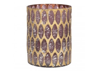 Fialový skleněný svícen se zlatou patinou - Ø 11*15 cm