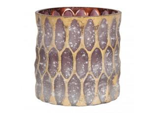 Fialový skleněný svícen se zlatou patinou - Ø 10*10 cm