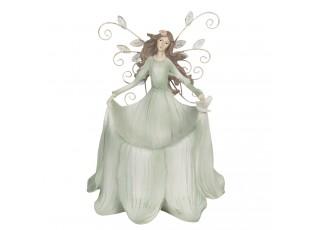 Dekorace anděla s lístky v zelených šatech - 18*13*22 cm