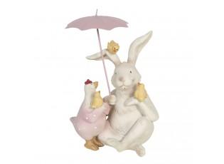 Dekorace králík a slepička s deštníkem - 12*11*16 cm