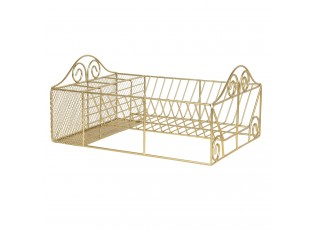 Zlatý kovový stojan nebo odkapávač na nádobí - 40*27*18 cm