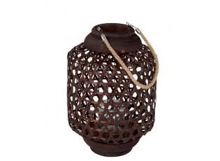 Hnědá dřevěná lucerna Knitti wood - Ø 32*45 cm