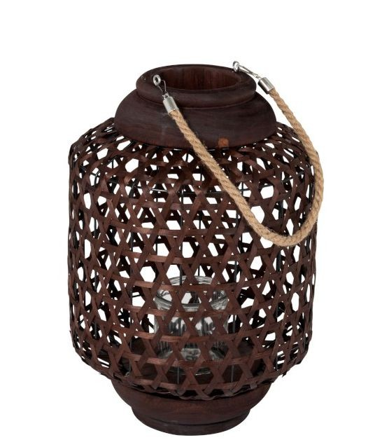 J-Line by Jolipa Hnědá dřevěná lucerna Knitti wood - Ø 32*45 cm