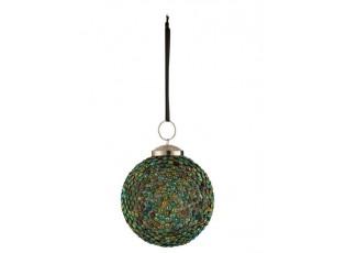 Zelená barevná skleněná ozdoba koule Diamond - Ø 9*12cm